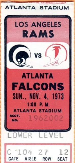 1973 Atlanta Falcons ticket stub vs Rams