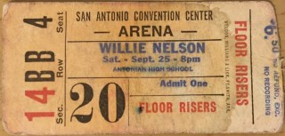 1976 Willie Nelson ticket stub San Antonio
