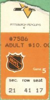 1981 Edmonton Oilers ticket stub vs Penguins
