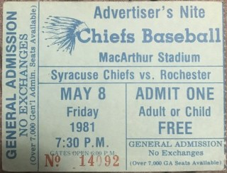 1981 Rochester Red Wings ticket stub vs Syracuse Chiefs 10