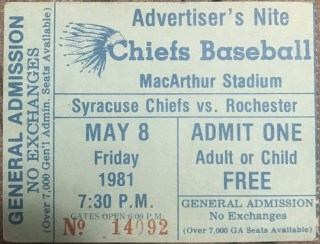 1981 Syracuse Chiefs ticket stub vs Rochester Red Wings