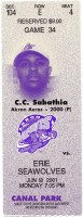 2001 Akron Aeros ticket stub vs Erie Seawolves