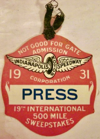 1931 Indianapolis 500 Mile Race Press Badge 178