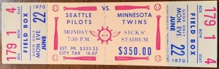 1970 Seattle Pilots ticket stub vs Twins