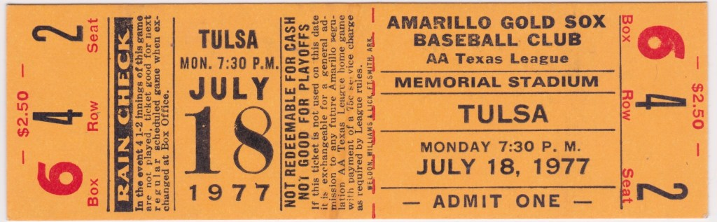 1977 Amarillo Gold Sox ticket stub vs Tulsa