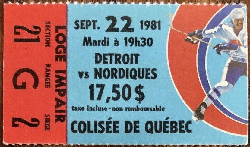 1981 Quebec Nordiques ticket stub vs Red Wings