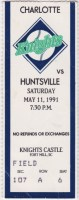 1991 Charlotte Knights ticket stub vs Huntsville
