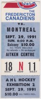 1991 AHL Fredericton Canadiens ticket stub vs Montreal
