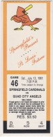 1991 Springfield Cardinals ticket stub vs Quad City