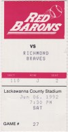 1992 Scranton Wilkes-Barre Red Barons ticket stub vs Richmond