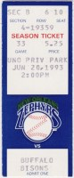 1993 New Orleans Zephyrs ticket stub vs Buffalo