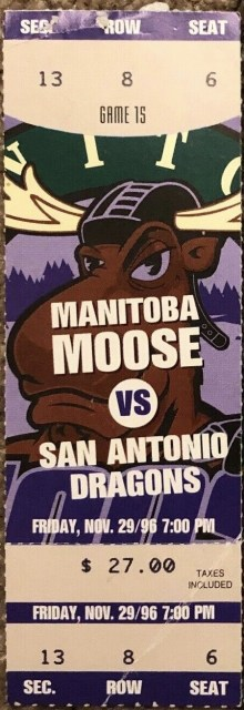 1996 Manitoba Moose ticket stub vs San Antonio Dragons