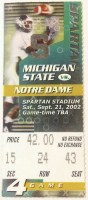 2002 NCAAF Michigan State Ticket Stub vs Notre Dame