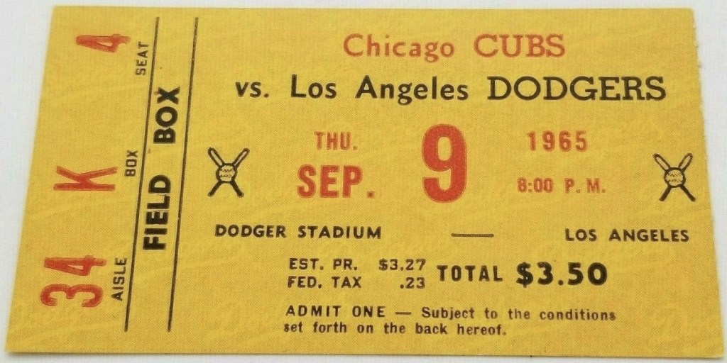 1965 Sandy Koufax Perfect Game ticket stub vs Chicago