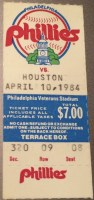 1984 Philadelphia Phillies Opening Day ticket stub