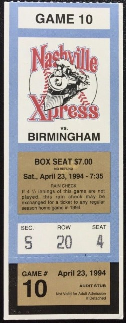 1994 Nashville Xpress ticket stub vs Birmingham Michael Jordan