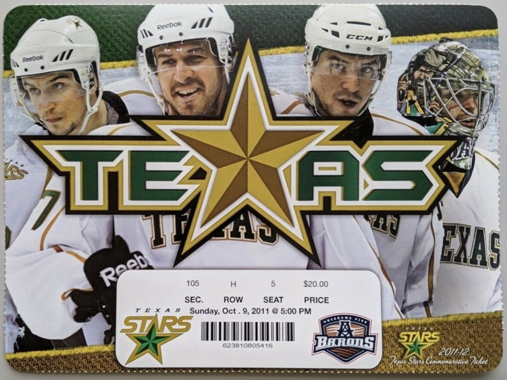 2011 AHL Texas Stars Opening Night ticket stub