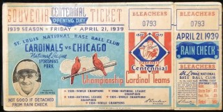 1939 Cardinals Opening Day Unused Ticket vs Chicago Cubs 225