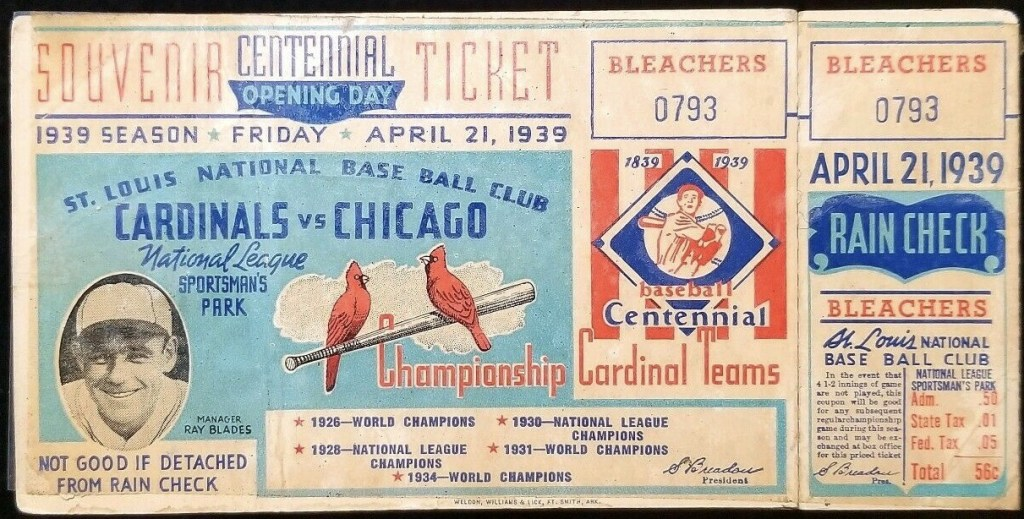 1939 Cardinals Opening Day Unused Ticket vs Chicago Cubs
