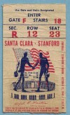 1940 NCAAF Stanford ticket stub vs Santa Clara