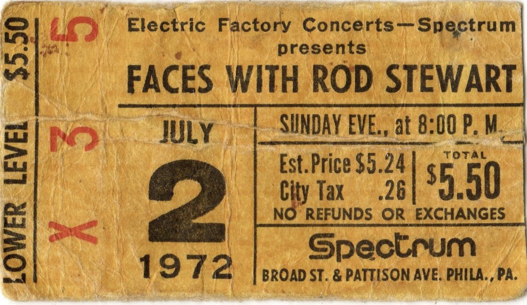 1972 Faces with Rod Stewart ticket stub Spectrum