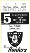 1986 Los Angeles Raiders ticket stub vs San Diego
