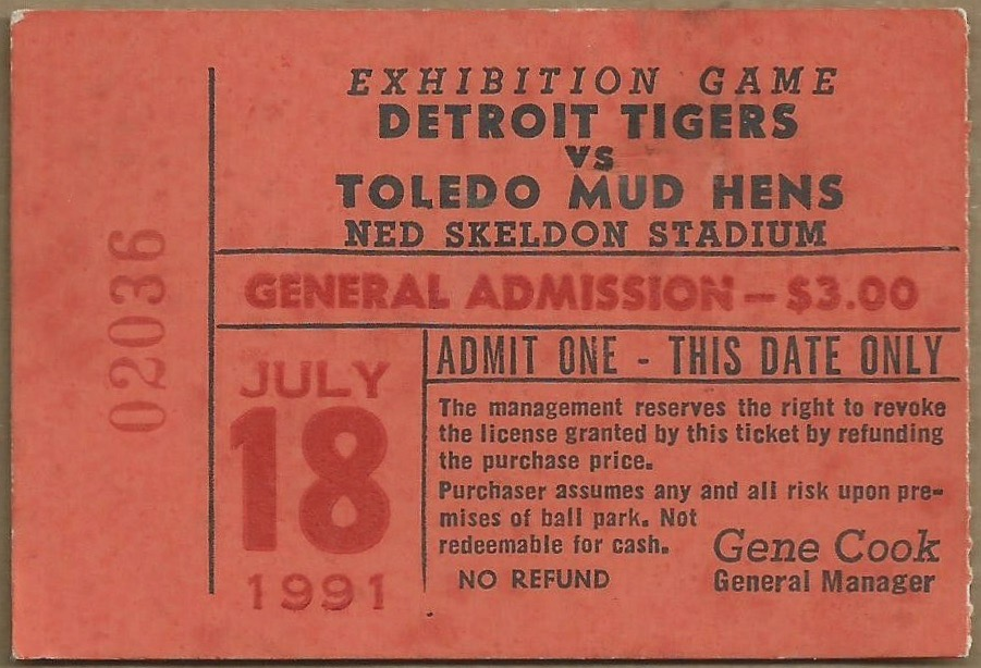 1991 Toledo Mud Hens ticket stub vs Detroit Tigers