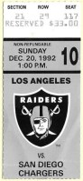 1992 Los Angeles Raiders ticket stub vs San Diego
