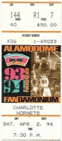 1994 San Antonio Spurs ticket stub vs Charlotte