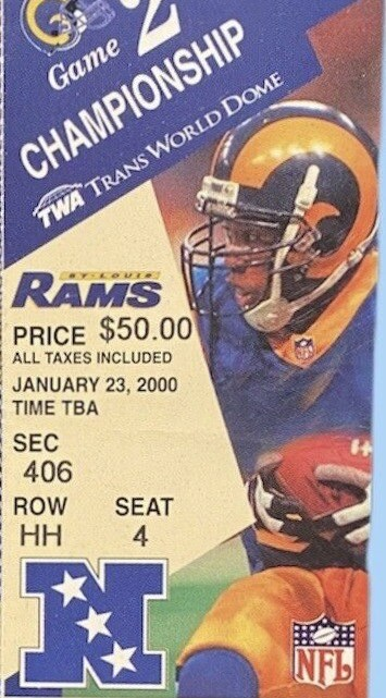 2000 NFC Championship Game ticket stub Rams vs Buccaneers