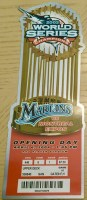 2004 Florida Marlins Opening Day ticket stub vs Expos