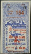 1939 New York Giants vs All Stars ticket stub LA's Wrigley Field