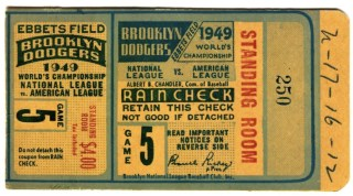 1949 World Series Game 5 ticket stub Dodgers Yankees 175