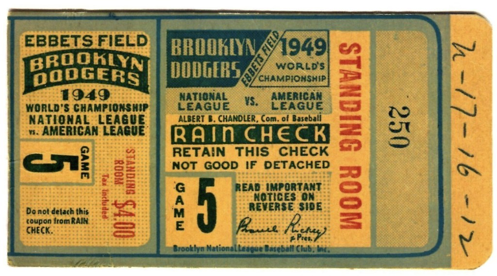 1949 World Series Game 5 ticket stub Dodgers Yankees