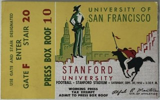 1950 NCAAF Stanford ticket stub vs USF 49