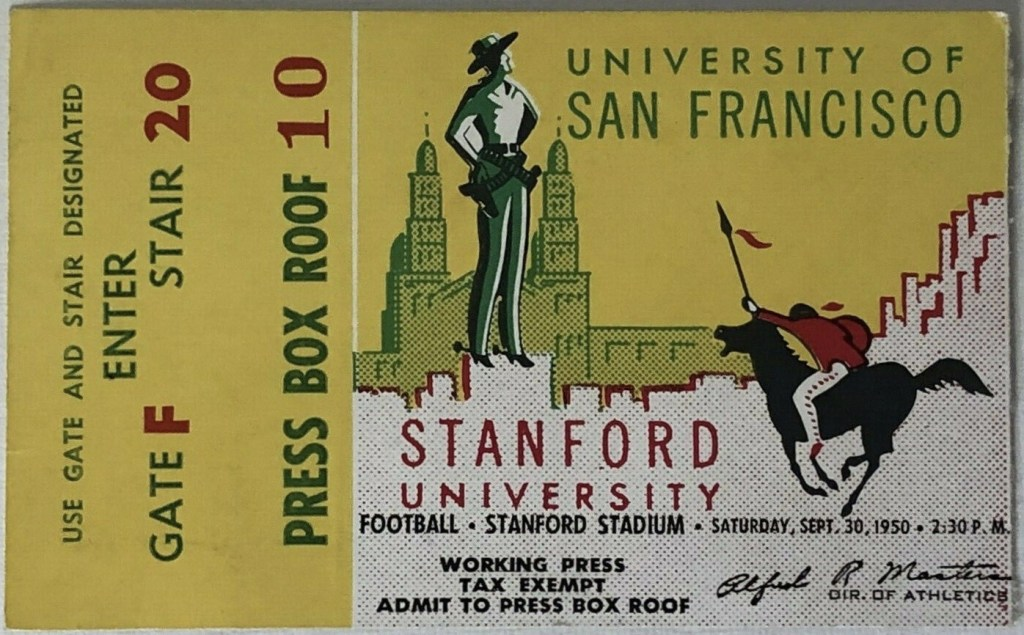 1950 NCAAF Stanford ticket stub vs San Francisco