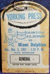 1967 Houston Oilers Press Pass vs Miami Dolphins