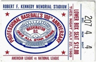 1969 MLB All-Star Game Ticket Stub 38