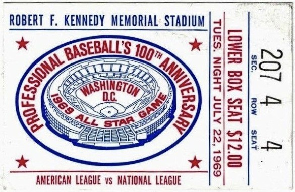 1969 MLB All Star Game Ticket Stub