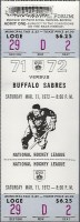 1972 Los Angeles Kings unused ticket vs Buffalo