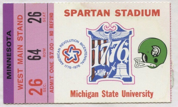 1976 NCAAF Michigan State ticket stub vs Minnesota