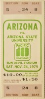 1979 NCAAF Arizona State ticket stub vs Arizona
