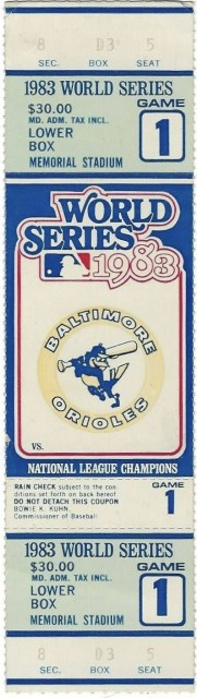 1983 World Series Game One Ticket Stub Orioles vs Phillies 15.50