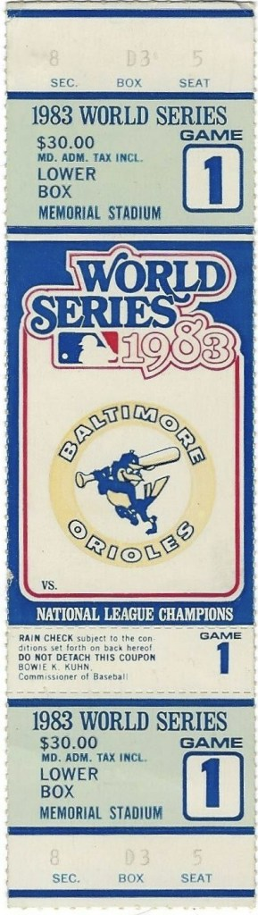 1983 World Series Game One Ticket Stub Orioles vs Phillies