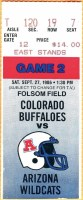 1986 NCAAF Colorado Buffaloes ticket stub vs Arizona