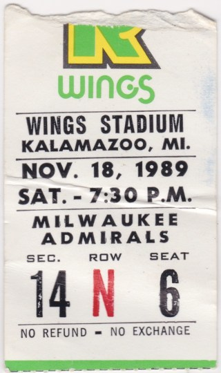 1989 IHL Kalamazoo Wings ticket stub vs Milwaukee