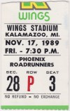 1989 IHL Kalamazoo Wings ticket stub vs Phoenix