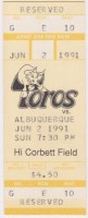 1991 Tucson Toros unused ticket vs Albuquerque