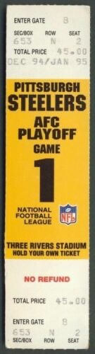 1995 AFC Divisional Game ticket stub Steelers Browns 45