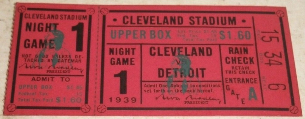 1939 Cleveland Indians Vs Detroit Tigers 1st Night Game Ticket